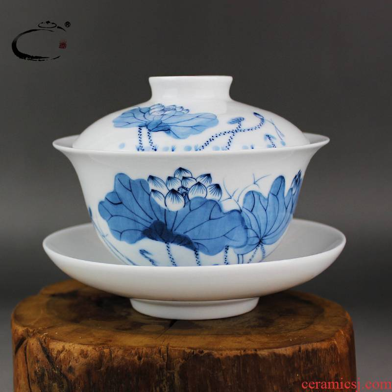 Blue and white only three tureen large jingdezhen ceramics and auspicious hand - made kung fu tea cup teapot tea bowl