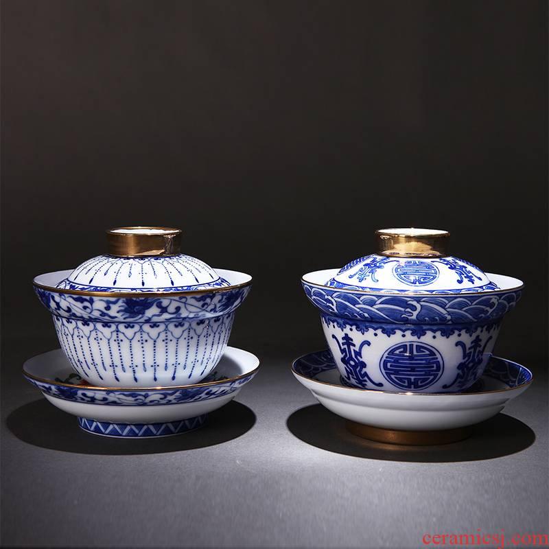 Red xin porcelain jingdezhen ceramic bowl is pure manual kung fu tea cups porcelain fu lu shou three bowls