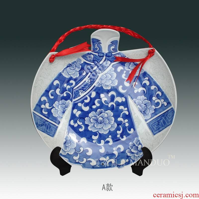 Jingdezhen blue and white cheongsam hand - made decorative porcelain its character decorative porcelain porcelain hanging blue and white, thanks