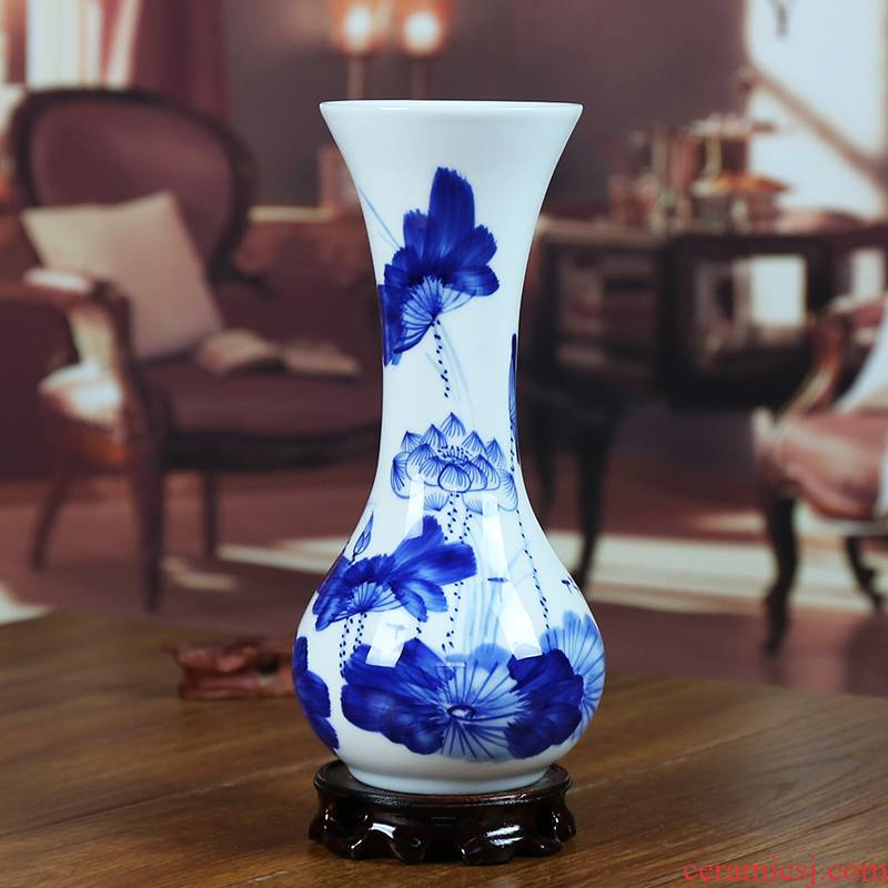 Jingdezhen ceramic vase modern blue and white porcelain painting lotus home sitting room flowers handicraft furnishing articles present