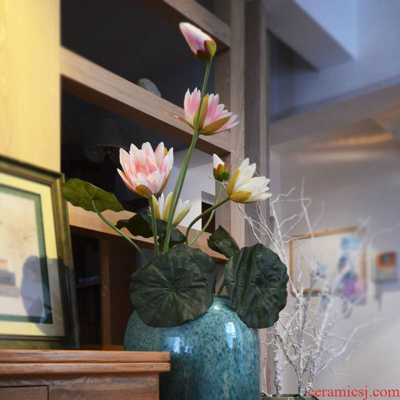 Ceramic vases, flower glaze up dried flower simulation landing place of modern European sitting room hotel villa decoration flower arrangement