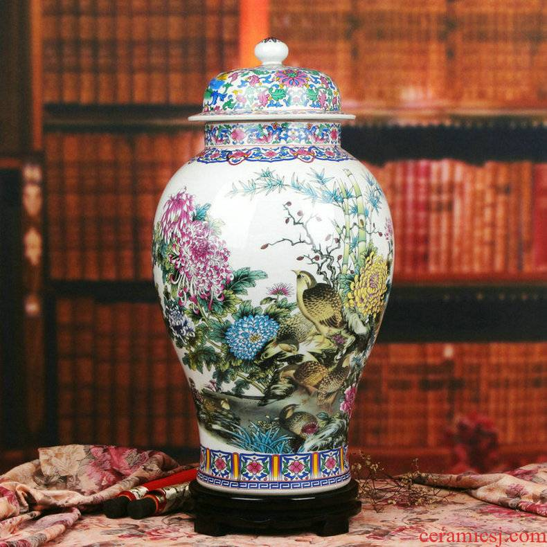 Chinese style classical jingdezhen ceramics powder enamel peace figure peony quail general pot of modern home furnishing articles