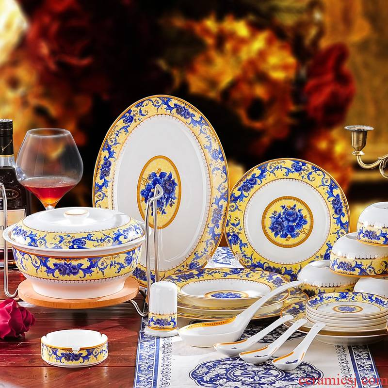 Red xin 56 skull jingdezhen porcelain tableware dishes suit plate run out of European - style ceramics dining utensils