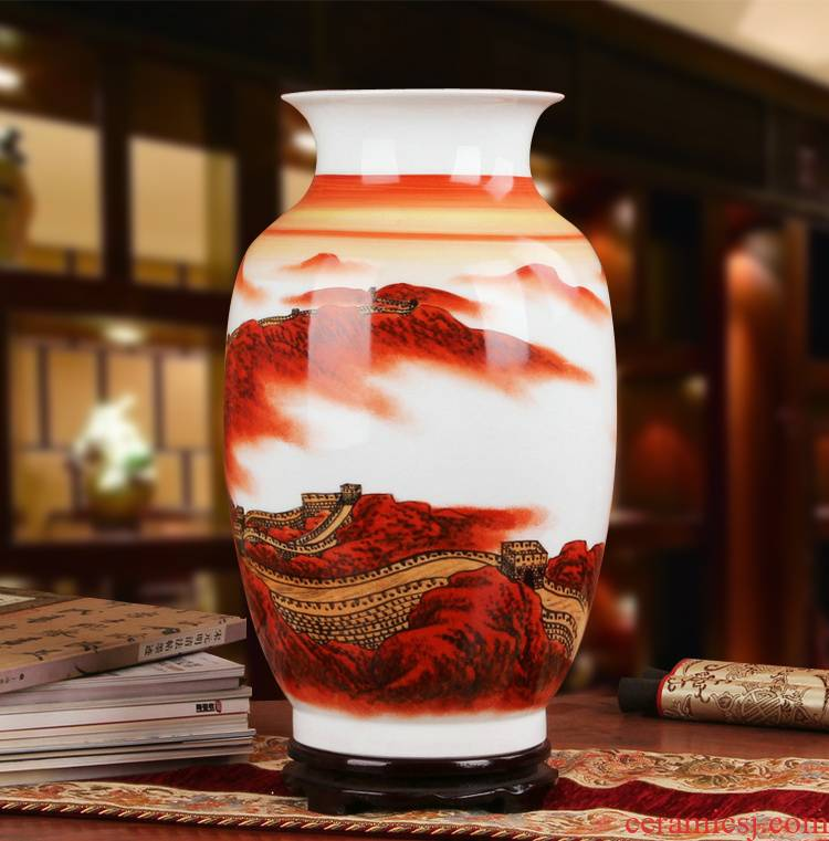 Famous hu, jingdezhen ceramics vase upscale gift collection Long Changcheng porcelain hand - made China vase