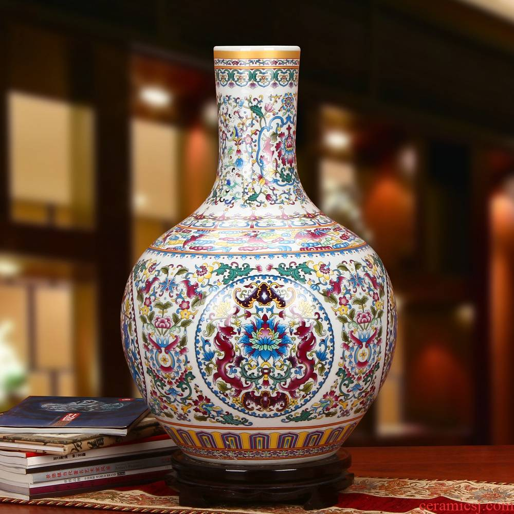 Archaize of jingdezhen ceramics powder enamel bound branch lotus celestial sphere of large vases, Chinese style household crafts are set