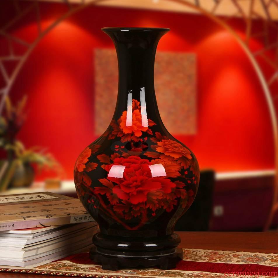 Jingdezhen ceramics high - grade crystal glaze peony vase sitting room home furnishing articles gift collection