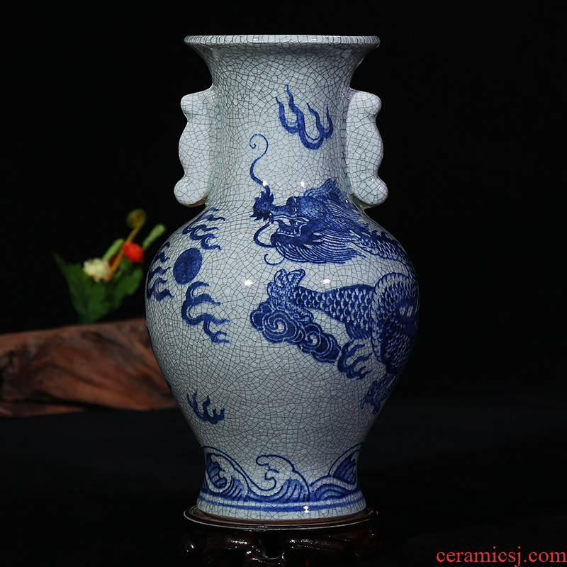 Blue and white slicing dragon classical jingdezhen ceramics vase home sitting room adornment imitation up with Chinese style furnishing articles