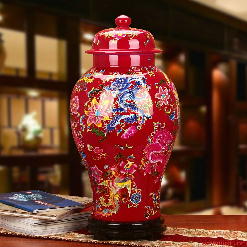 Jingdezhen ceramics Chinese mei red in extremely good fortune general pot vase fashion home decoration furnishing articles