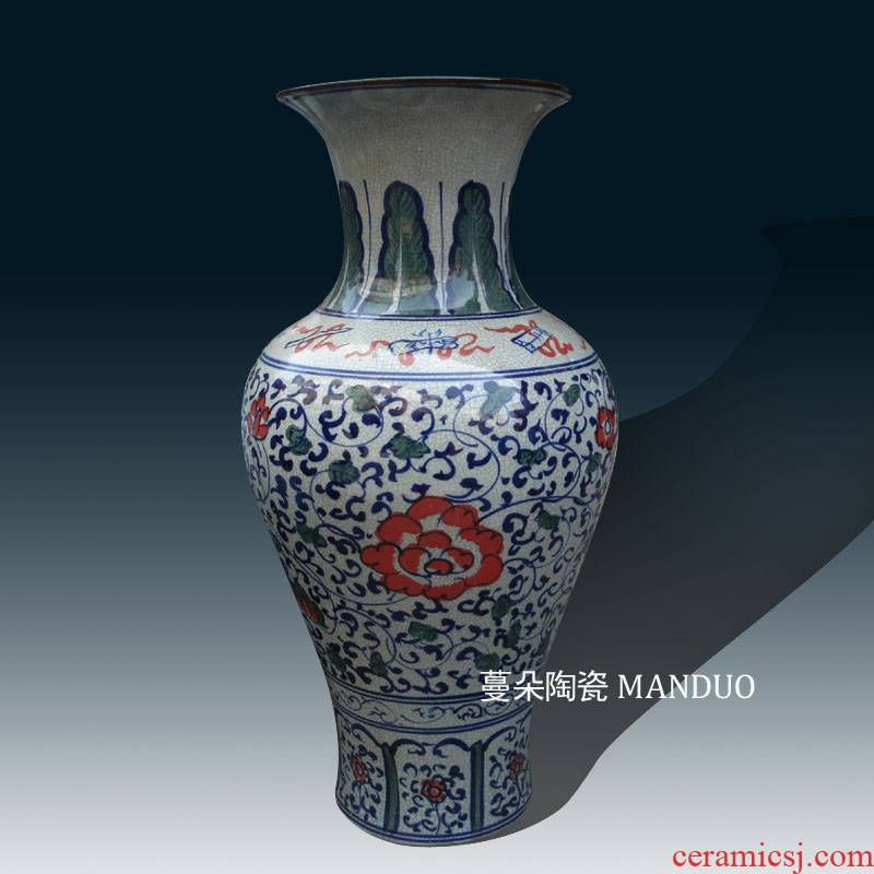 Jingdezhen blue and white porcelain archaize crack porcelain vases Chinese style classical style that occupy the home to decorate display vase