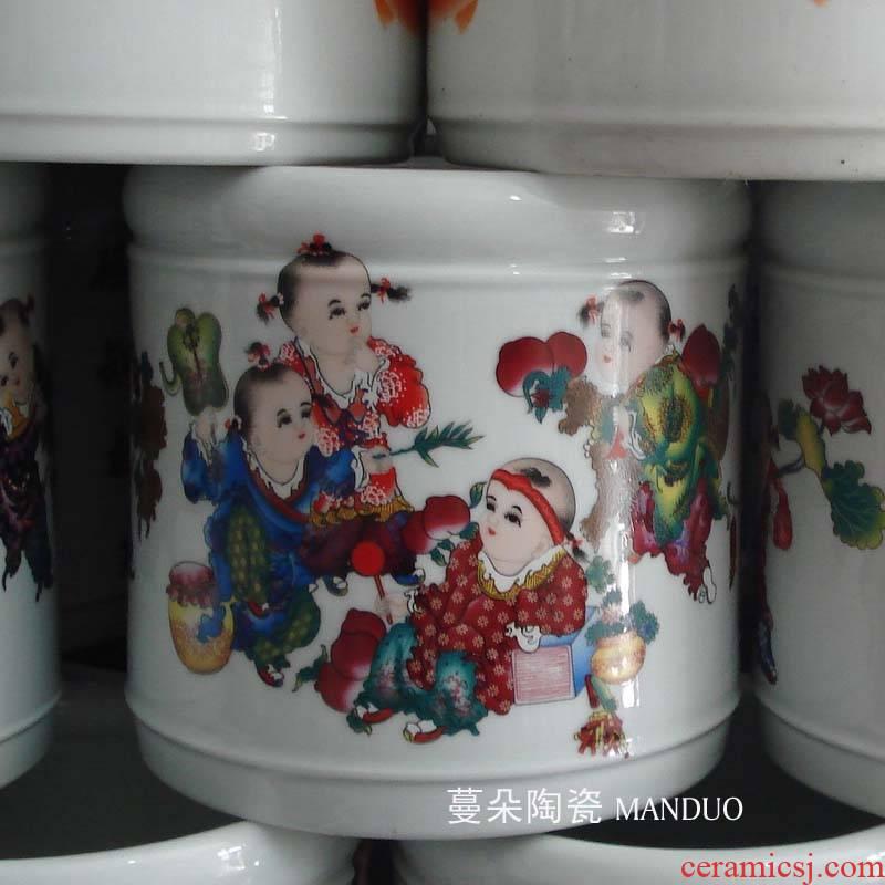 Tong qu pattern jingdezhen porcelain brush pot lad porcelain brush pot large porcelain brush pot Wen Fang supplies