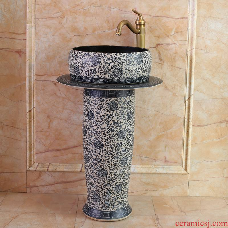 Jingdezhen ceramic art basin floor bath column column European lavabo balcony household lavatory