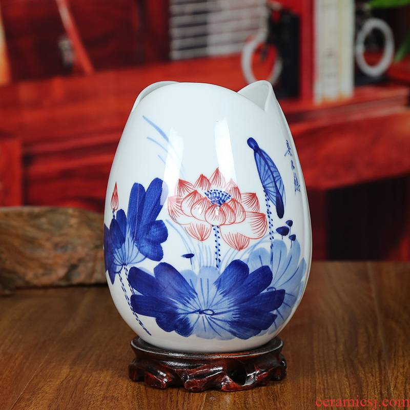 Jingdezhen ceramic vase modern blue and white porcelain dou color lotus home sitting room place classical handicraft gifts