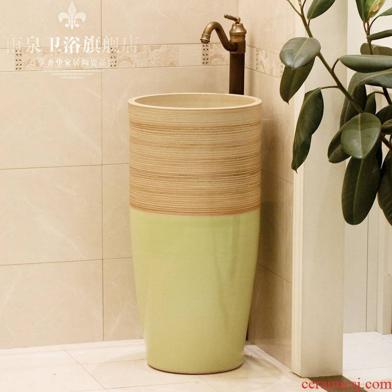 Jingdezhen ceramic art basin pillar basin sink floor type lavatory bath column basin suit