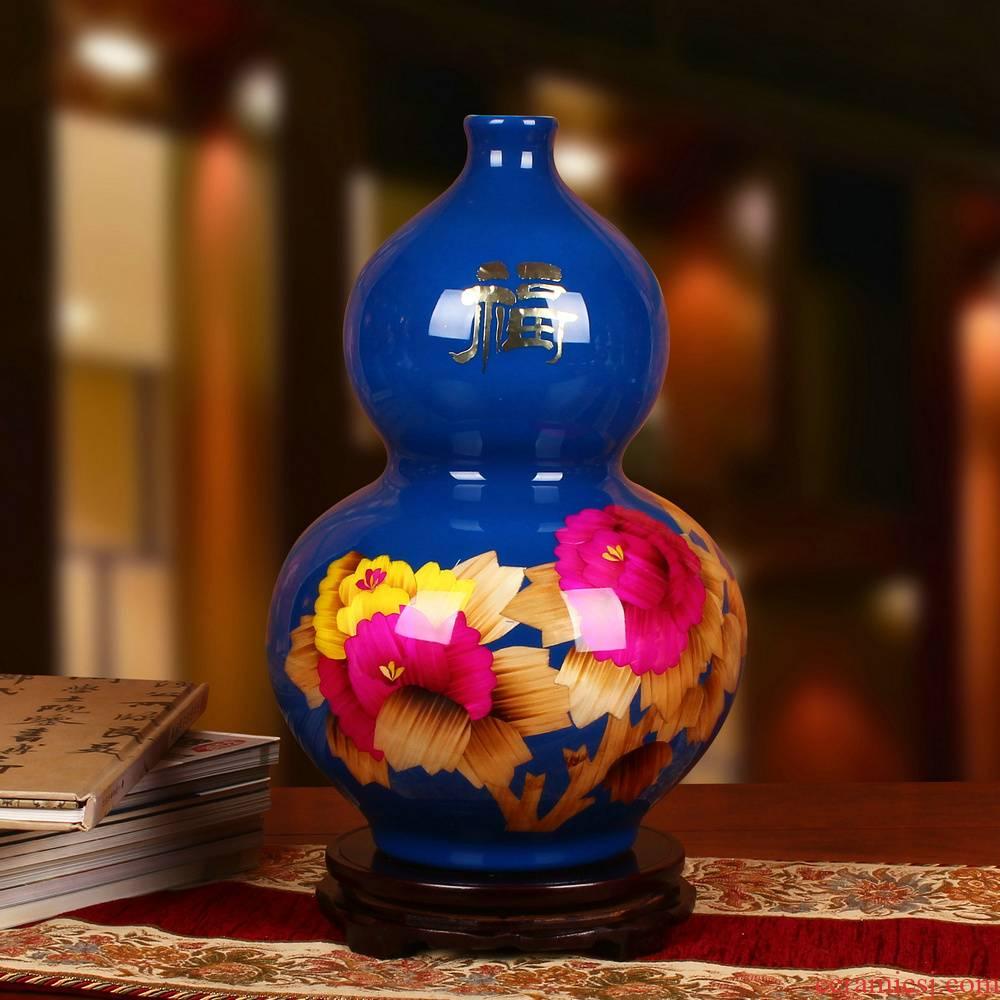 Jingdezhen ceramics high - grade blue vase peony flowers gourd vases, modern arts and crafts decorative furnishing articles