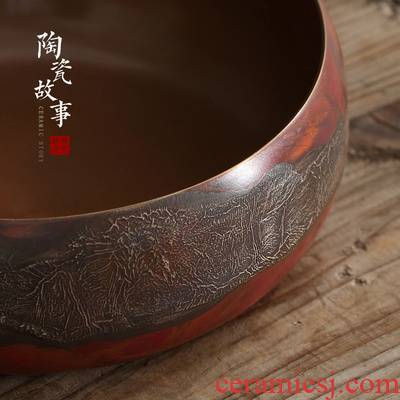 Ceramic story copper pure copper mine loader silver tea wash cup for wash with water jar Japanese zen kung fu tea accessories