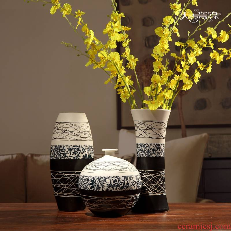 Jingdezhen ceramic vase furnishing articles I and contracted home sitting room adornment flower arrangement is lucky bamboo hydroponic porcelain