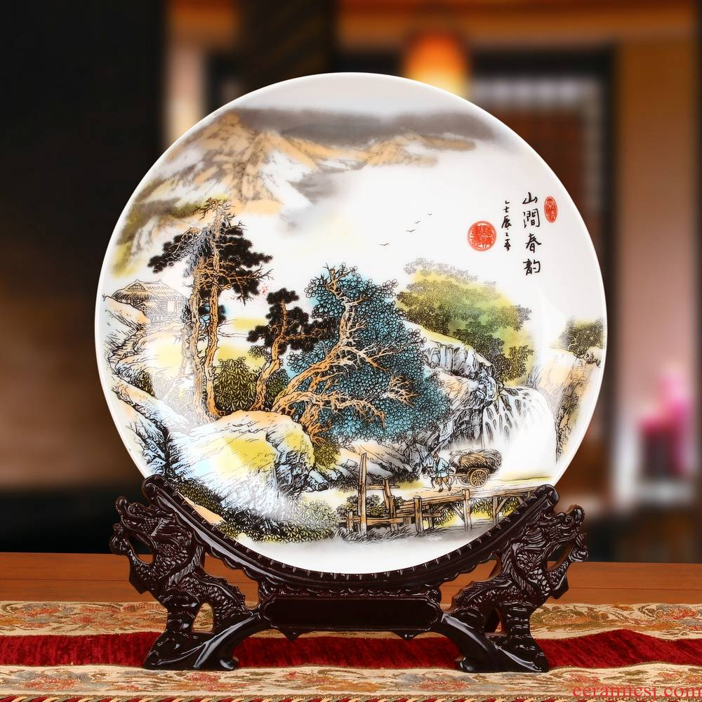 Jingdezhen ceramics powder enamel painting landscape sit faceplate hang dish plate of modern home decoration furnishing articles