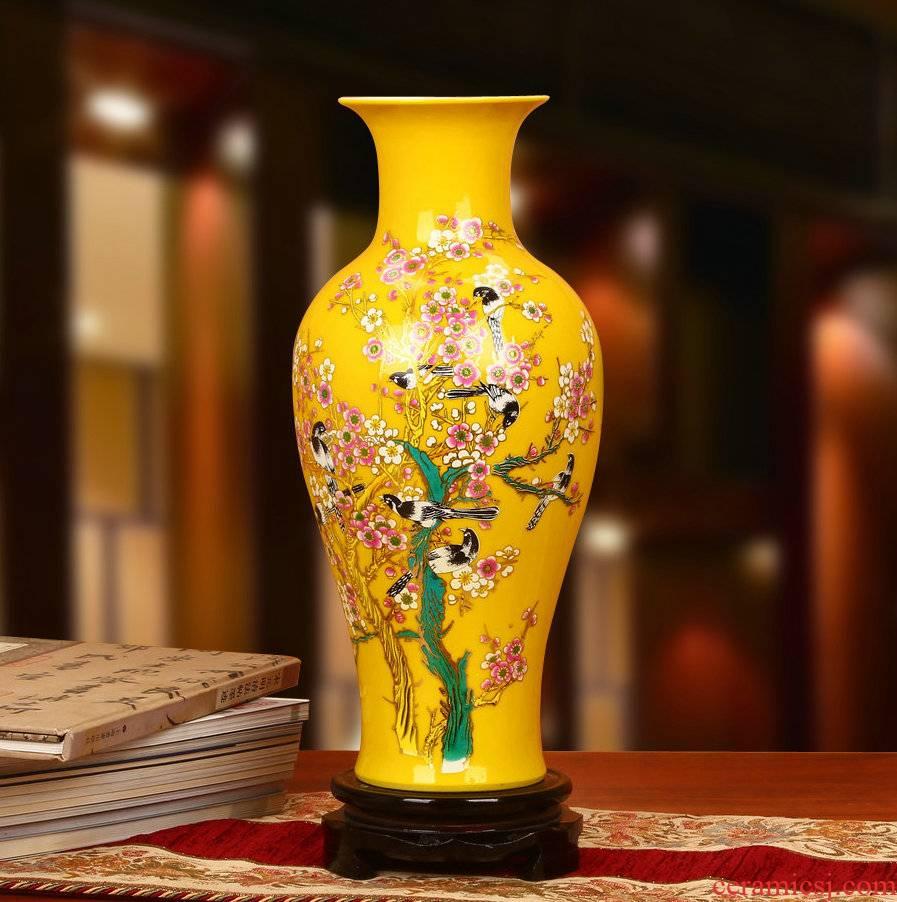 Jingdezhen ceramics beaming vase yellow crystalline glaze furnishing articles modern Chinese style household decoration decoration