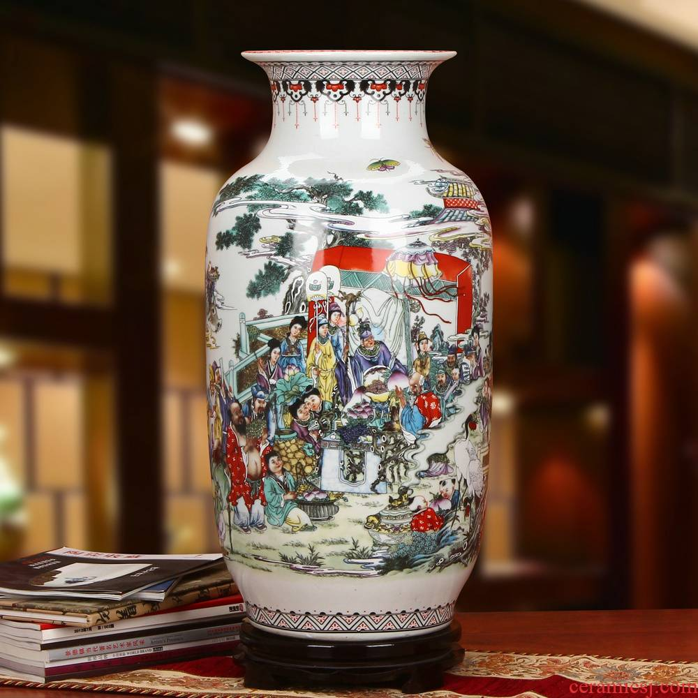 Archaize of jingdezhen ceramics powder enamel flat peach will idea gourd of large vases, Chinese style household crafts are set