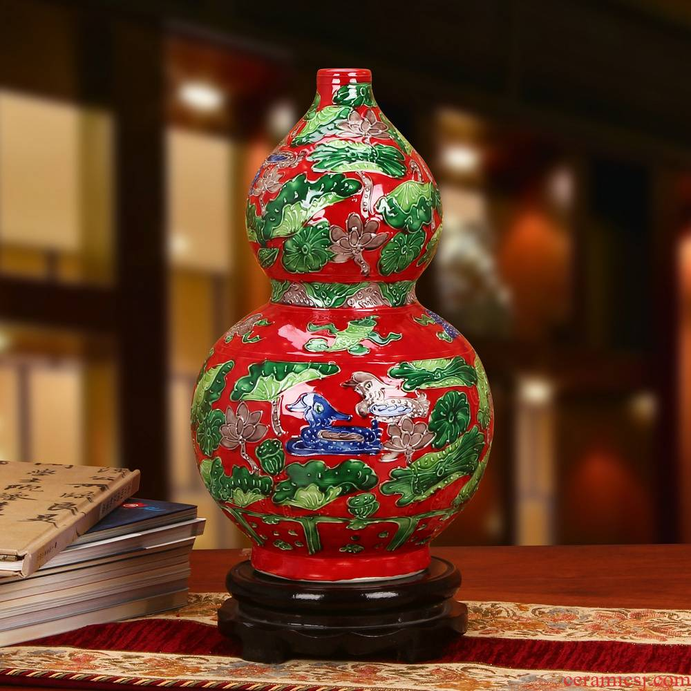 Jingdezhen ceramics archaize hand - carved yuanyang vase classical wedding gifts home decoration furnishing articles
