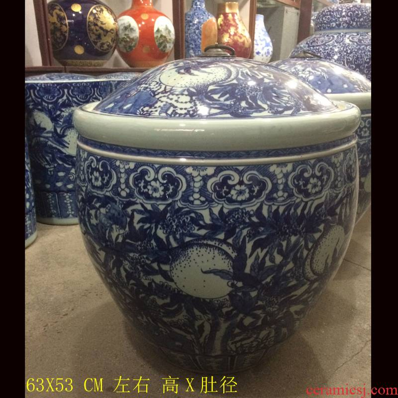 Jingdezhen hand - made porcelain bound lotus flower round porcelain cover practical 50 to 60 barrel meters high pot cover pot convex