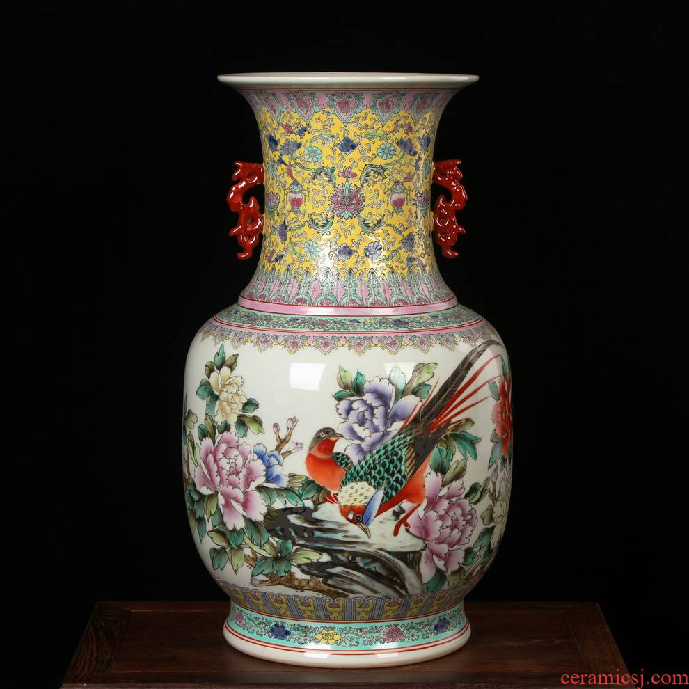 Jingdezhen ceramics hand - made porcelain enamel factory goods and flowers and birds wanda vases, antique Ming and the qing dynasties home furnishing articles