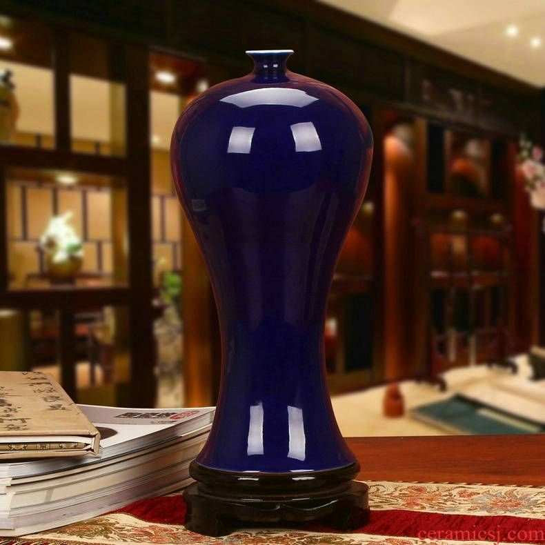 Jingdezhen ceramics high - end color glaze the blue glaze vase modern Chinese style classical study furnishing articles