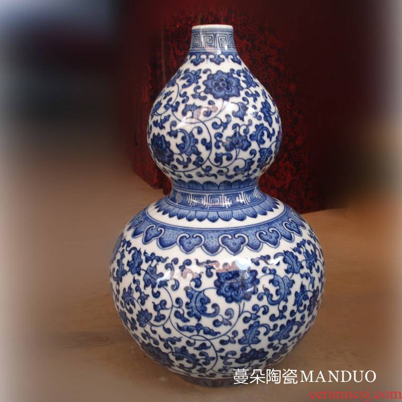 Jingdezhen hand - made bound lotus flower adornment is about 30 cm high famille rose porcelain bottle gourd vase treasure gourd vases