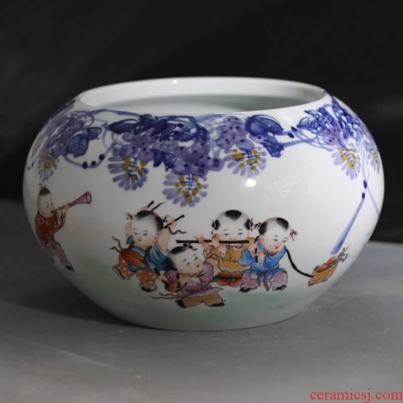 Jingdezhen writing brush washer from upscale elegant hand - made tong qu porcelain porcelain writing brush washer goldfish turtle cylinder