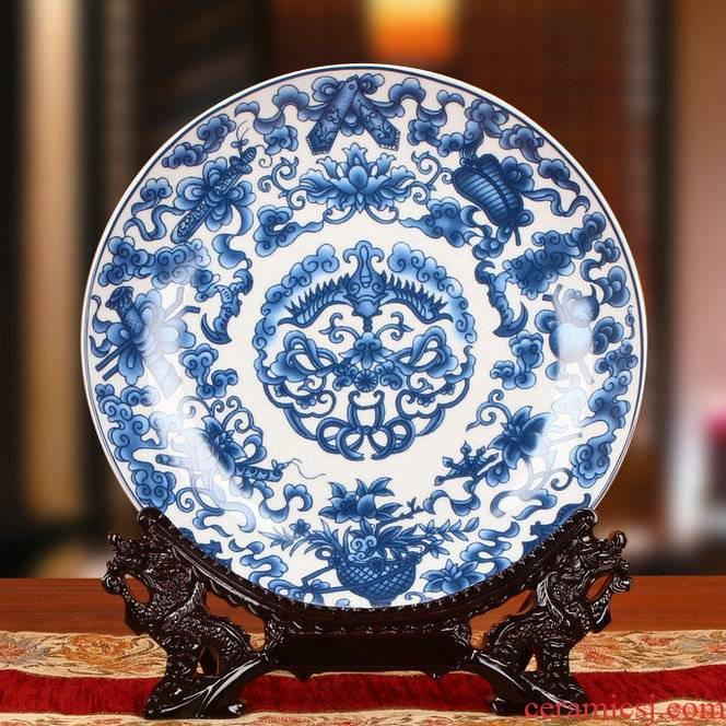 Jingdezhen blue and white ceramics sweet grain decoration plate faceplate hang dish modern Chinese style household decoration process