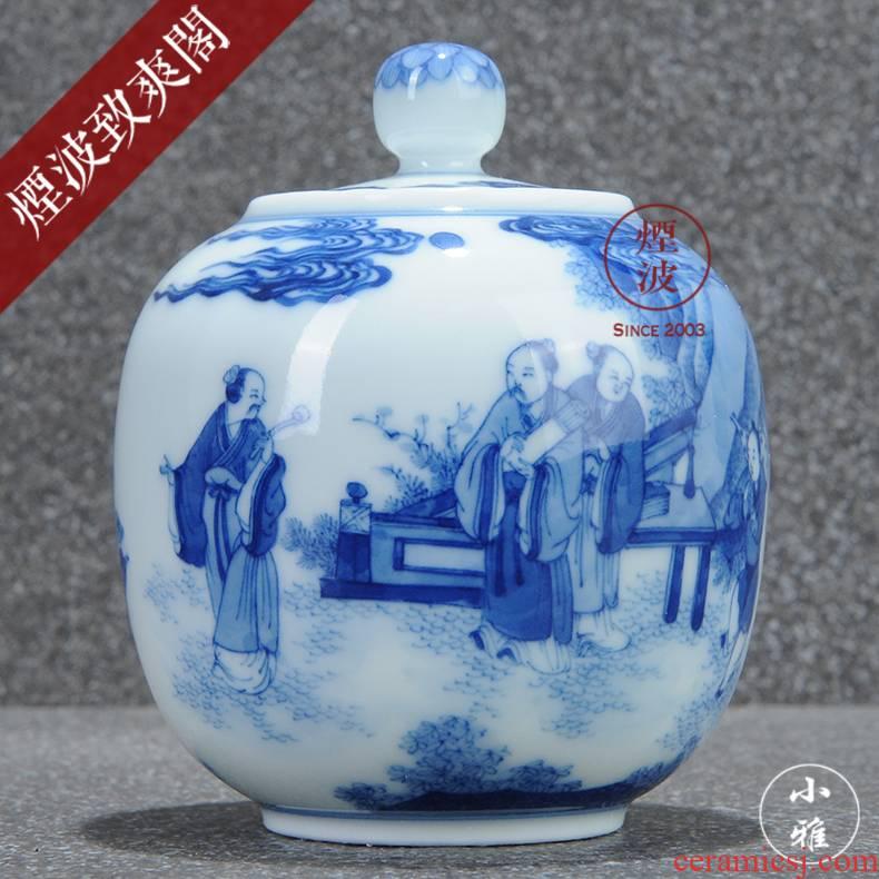 Those jingdezhen lesser RuanDingRong made lesser blue text will figure caddy fixings tea set
