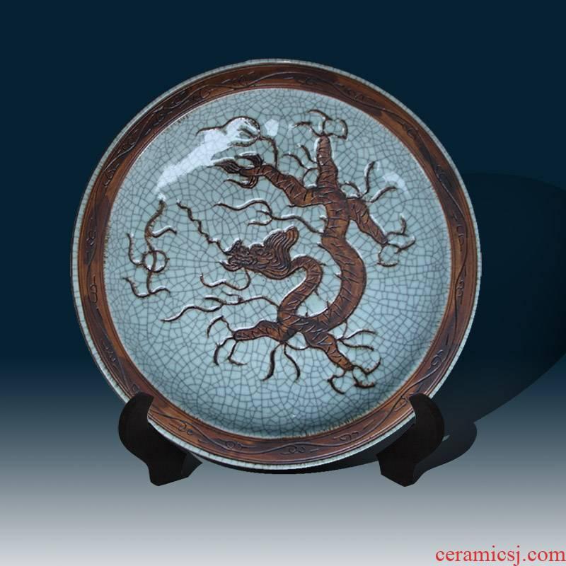 Jingdezhen crack glaze carving dragon porcelain decorative plate dragon archaize porcelain dish 40 cm in diameter