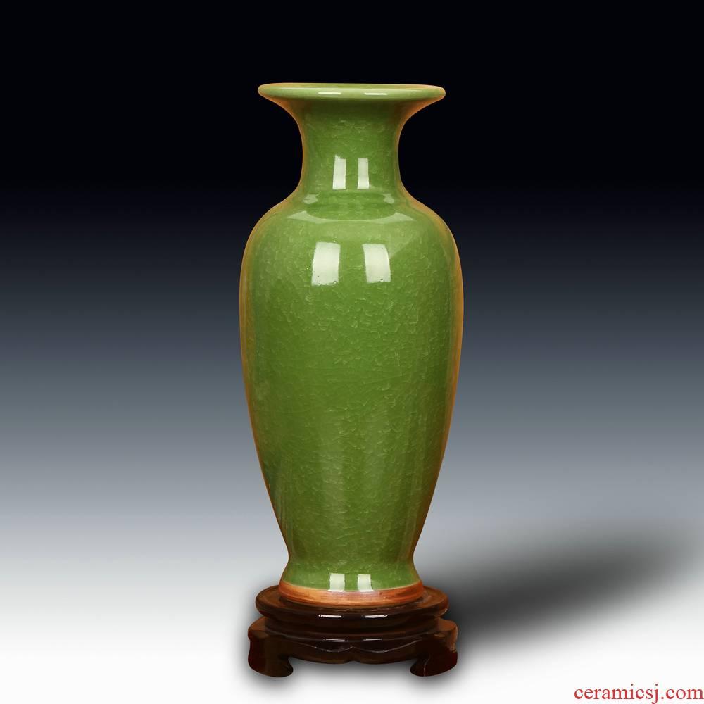 Jun porcelain of jingdezhen ceramics green vase archaize up crack glaze home sitting room handicraft furnishing articles