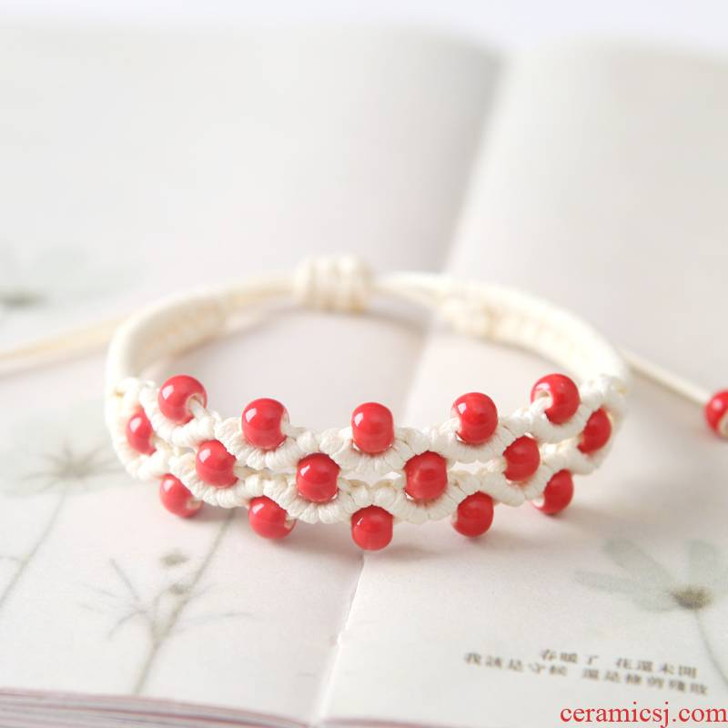 The Original product color glaze porcelain bead has QingGe bracelet with small pure and fresh and literary national wind street source