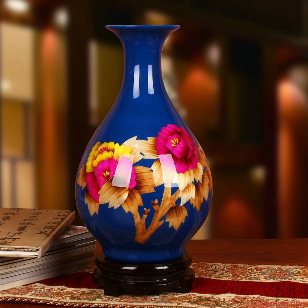 Jingdezhen ceramics straw peony riches and honour okho spring vase modern household crafts collection