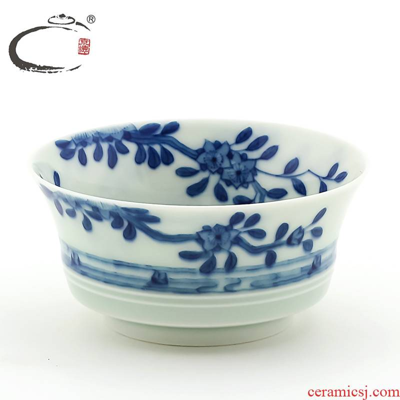 Jingdezhen blue and white the fallen petal sentient beings and auspicious cup hand - made ceramic sample tea cup kung fu tea cup to use single CPU