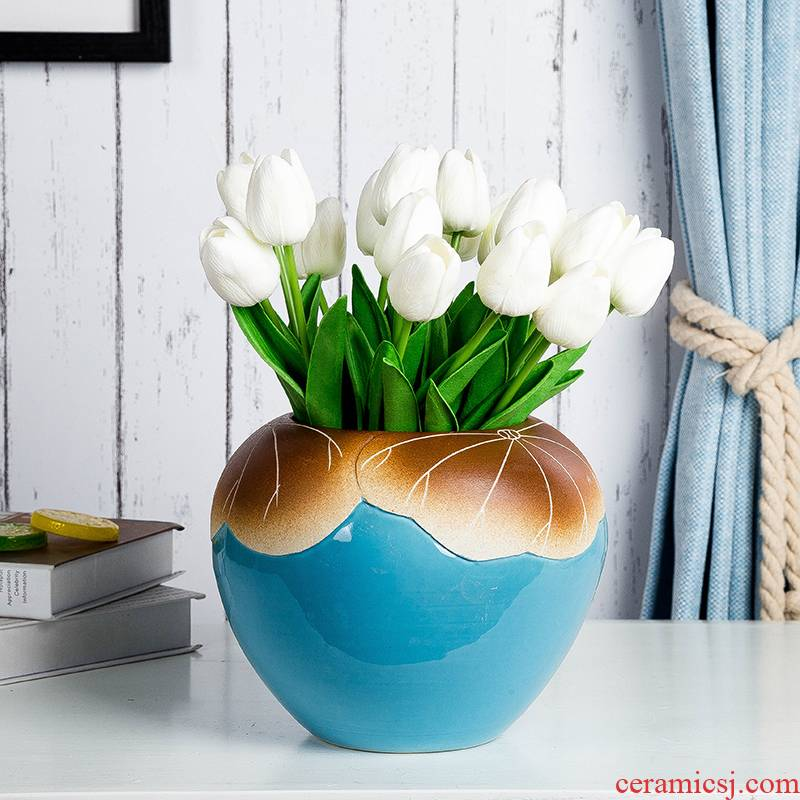 I and contracted household ceramic vases, flower implement table surface dry flower is placed porch decoration European ikebana sitting room