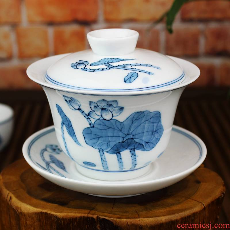 And auspicious large three tureen jingdezhen ceramics by hand only kung fu tea set hand - made teacup hand grasp pot of tea cups