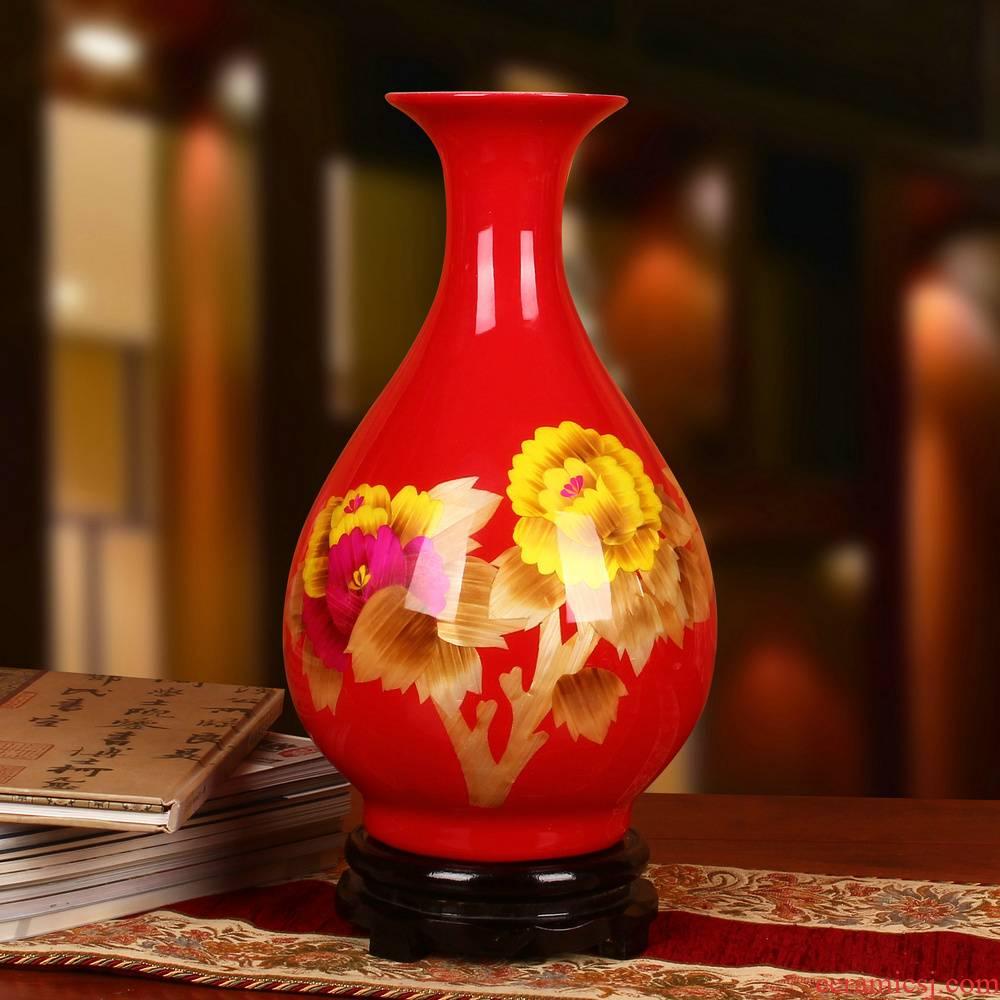 Jingdezhen ceramics China red straw vase peony riches and honour vase wedding gift wedding place decoration