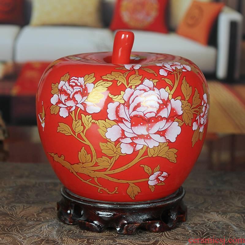 Jingdezhen ceramic vase China modern home furnishing articles sitting room red apples handicraft wedding gift