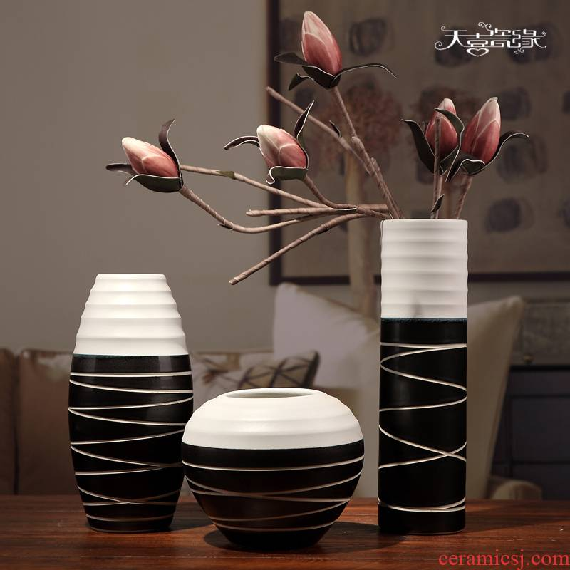 Jingdezhen ceramics three - piece vases, I and contracted household TV ark, furnishing articles sitting room adornment handicraft