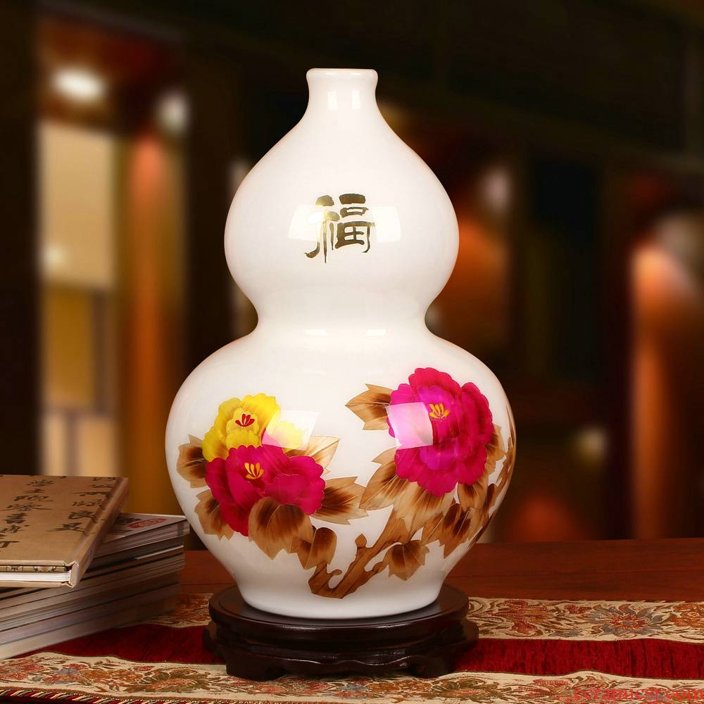 Modern Chinese style is contracted, ceramics, high - grade straw peony vases, fashion household handicraft furnishing articles