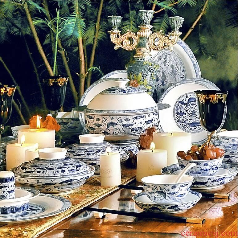 Red xin jingdezhen suit bowl dish dish ceramic tableware archaize Ming xuande mackerel algal grain bulk sale
