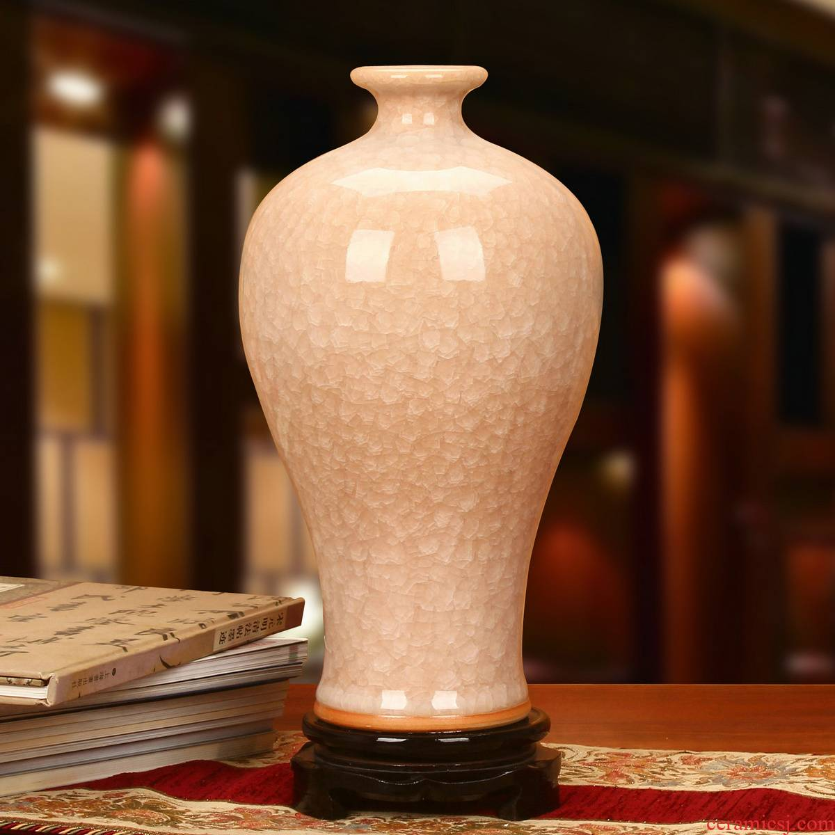 High - end antique jingdezhen ceramics up crack open piece of crystal vase modern Chinese home furnishing articles