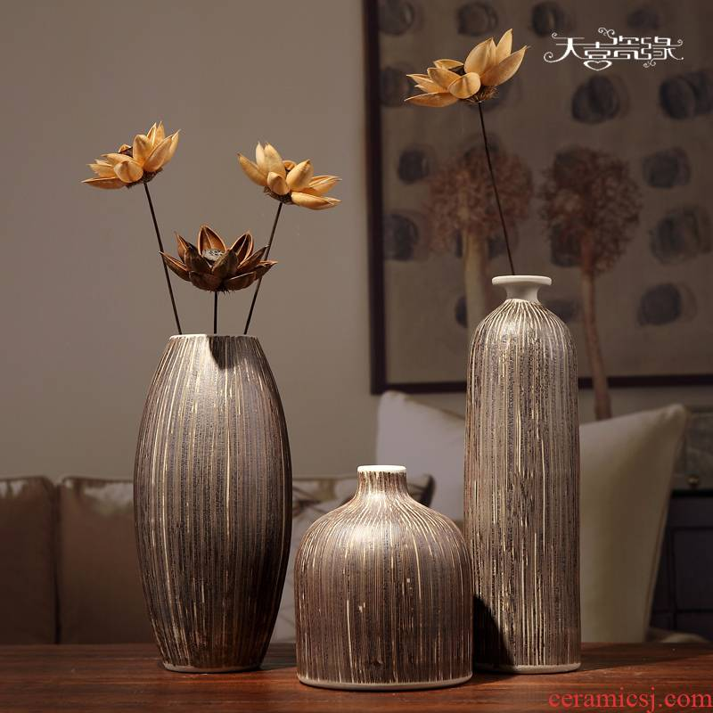 Jingdezhen ceramic vases, dried flowers, flower arrangement restoring ancient ways furnishing articles I sitting room porch TV ark, household soft adornment