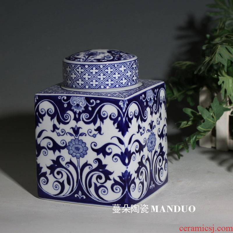Jingdezhen blue and white porcelain square cover pot European - style Jingdezhen blue and white porcelain cover square, environmental protection, unleaded tin as cans