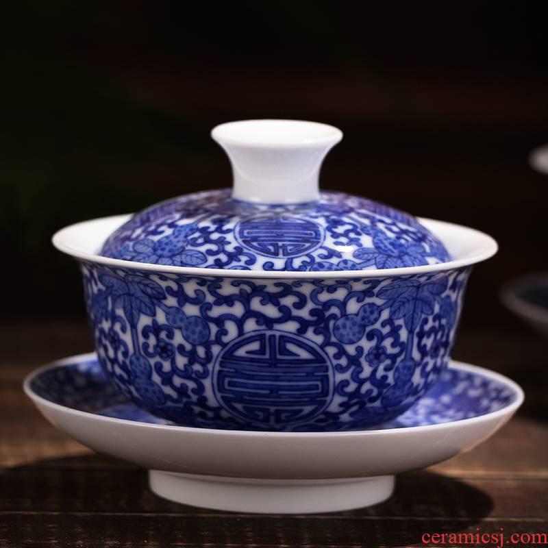 Xin red porcelain tubas grasp of blue and white porcelain tea tureen worship to use kung fu tea tea for a tea cup