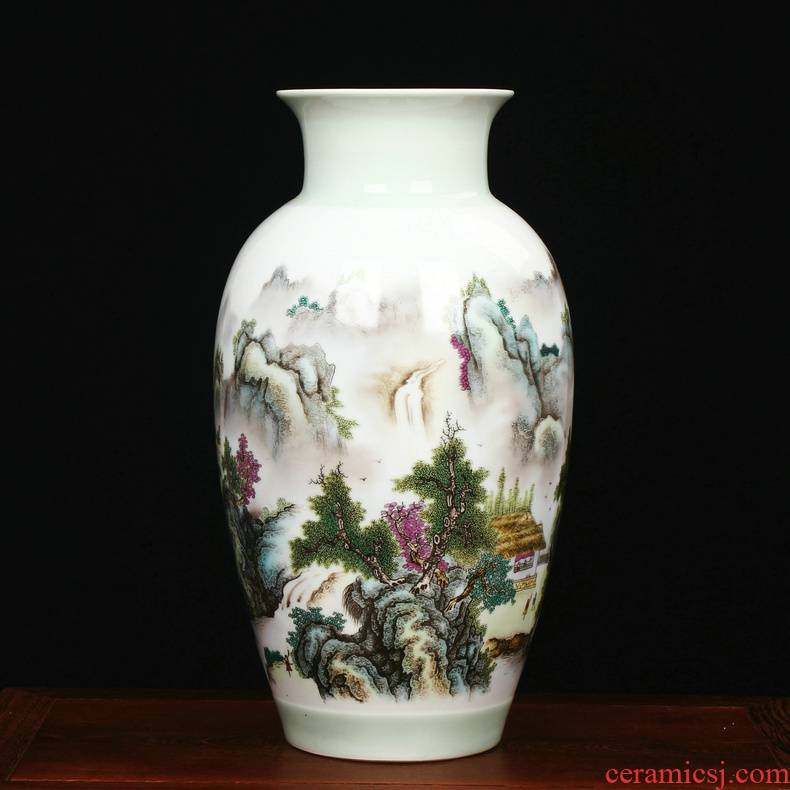 Jingdezhen ceramics Zhu Wu classic adornment pastel landscape vase sitting room home furnishing articles handicraft collection