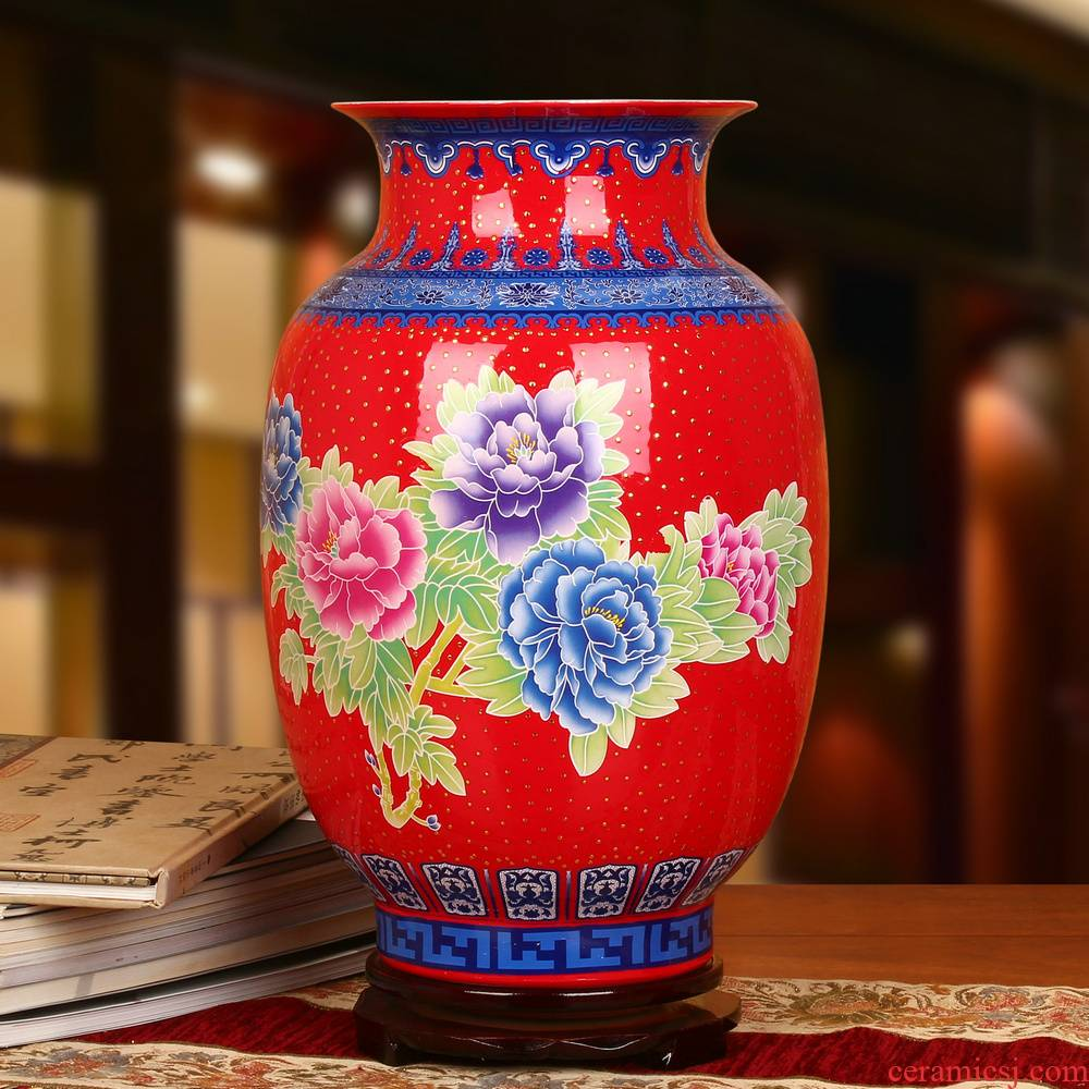 Jingdezhen ceramics high - grade enamel see China red Kim Chinese peony vase was contracted home furnishing articles
