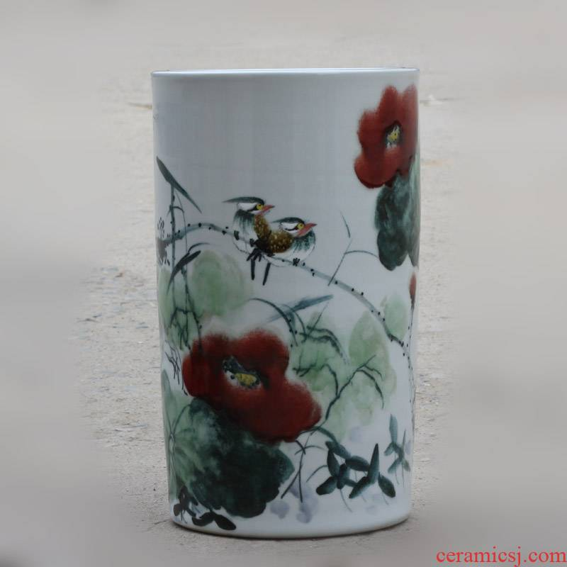 Jingdezhen hand - made porcelain up lotus quiver kingfisher China umbrella barrel painting and calligraphy quiver to receive China